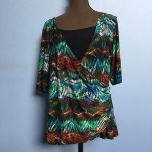 American City Wear Abstract Surplice Top